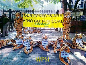 Greenpeace 'tigers' demonstrate outside the Coal Ministry at Shastri Bhavan, in New Delhi, 30 November 2011