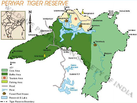 WPSI  Wildlife Protection Society of India  Tiger Reserves Periyar